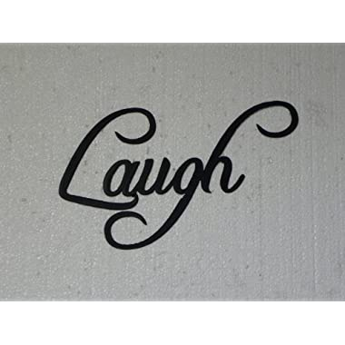 Laugh Word Metal Wall Art Fancy Script Home Decor