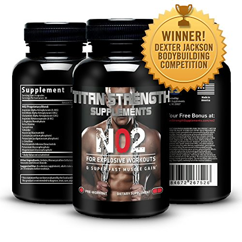 Top NO2 oxyde nitrique Booster 120 capsules. Gagner la concurrence. Muscle Building NO2 Supplément + L-Arginine. Donne Muscle Building Workouts + Augmentation Workout Endurance. Garanti bâtiment le plus efficace de Muscle avec 'Happy client «garantie de 3