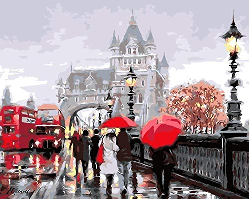 YEESAM ART DIY Paint by Numbers for Adults Beginner Kids, Beautiful Street View, Rain Umbrella Bridge 16x20 inch Linen Canvas Acrylic Stress Less Number Painting Gifts (Street View, Without ()