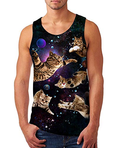 Uideazone Men Women 3D Galaxy Flying Cat Tank Top Cool Sleeveless Graphic Sport Tee Summer Casual SportwearTop Large