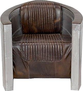 Casa-Padrino Art Deco de Cuero Silla de Aluminio marrón ...