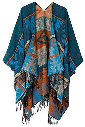 Women's Blanket Shawls Wraps, Winter Open Front Poncho Cape, Oversized Cardigan Sweater (Series 16-Jewelry Blue)