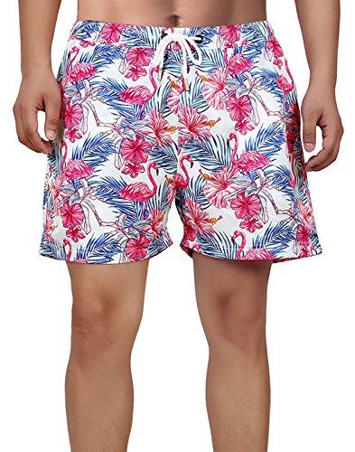 - HDE Mens Swim Trunk Shorts - Slim Fit Mesh Lining Pockets Quick Dry Board Short (Floral Flamingo, L 33-35)