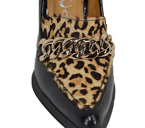 Mujer Leopardo de Cuero Zapatos Vestir Nero Negro Cambell para de fibia Jeffrey n46gfUn