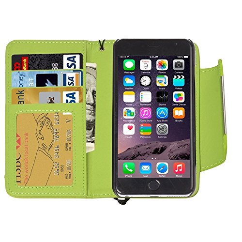 Funda Iphone, 2 en 1 caja de cuero separable de la PU del tirón del estilo de la carpeta separable con el acollador para el iPhone 6 y 6S ( Color : Purple ) Green