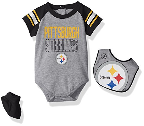 Outerstuff NFL Infant Blitz Onesie, Bib and Bootie Set-Heather Grey-24 Months, Pittsburgh Steelers