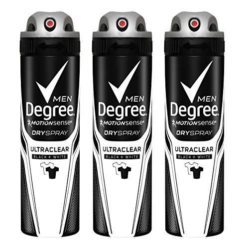 Degree Men MotionSense Antiperspirant Deodorant Dry Spray, UltraClear Black+White, 3.8 Ounce, Pack of 3 ()