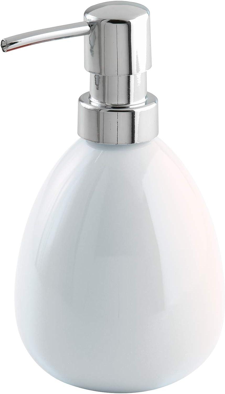 Wenko Polaris Dosificador Jabón 0.39 L, Cerámica, Blanco, 9x9.5x16 cm