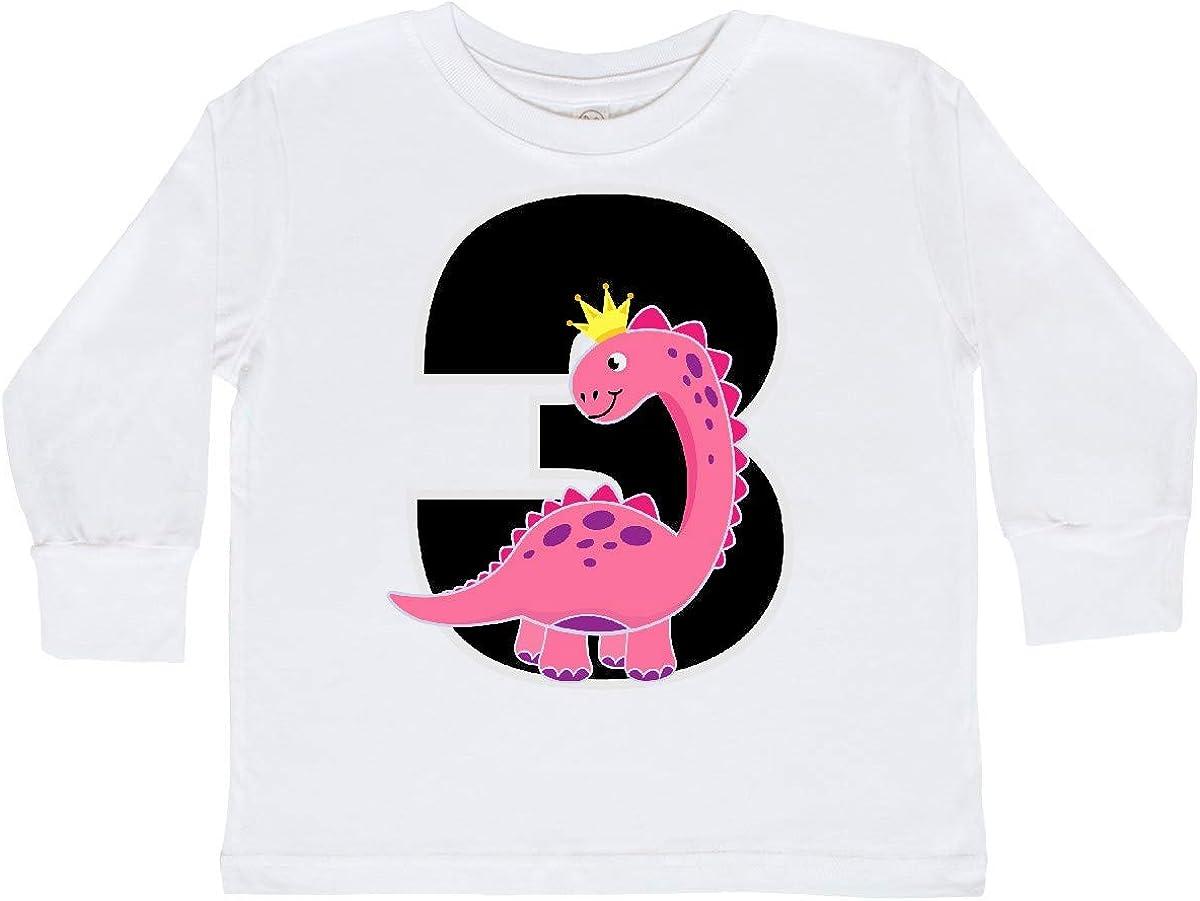 inktastic 3rd Birthday Dinosaur Outfit Girl Toddler Long Sleeve T-Shirt