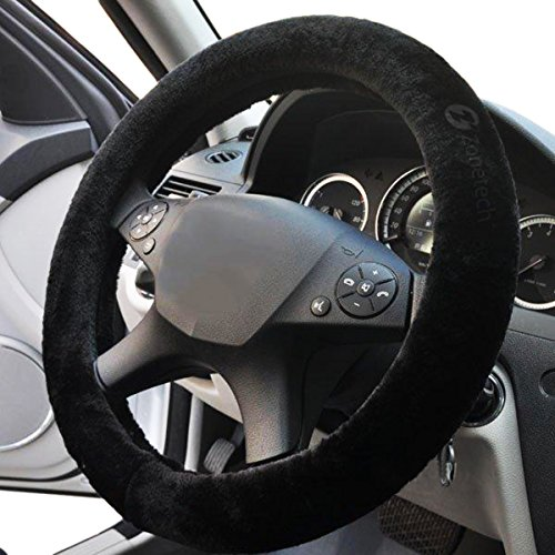 Zone Tech Plush Stretch- On Vehicle Steering Wheel Cover - Classic Black Premium Quality Comfy Car Steering Wheel Protector