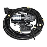 (6m) 20feet Patio Water Misting Cooling System with 12V 60W 5L/min Water Self Priming Pressure Micro Diaphragm Booster Washdown Pump for Caravan/rv / Boat/Marine