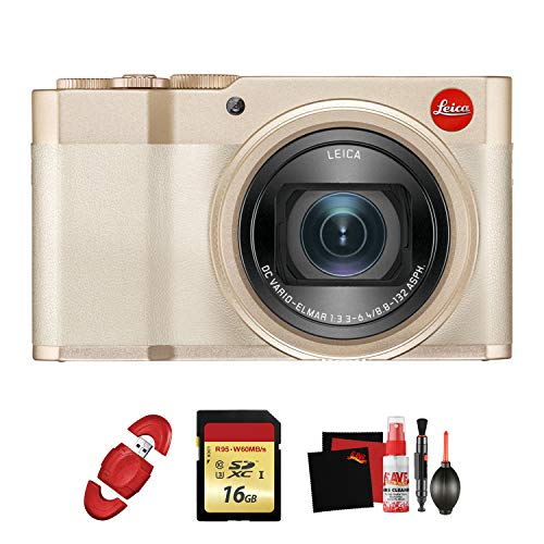 Leica C-Lux Digital Camera (Light Gold) with Memory Card and Cleaning Kit Bundle (Leica C Lux 3)