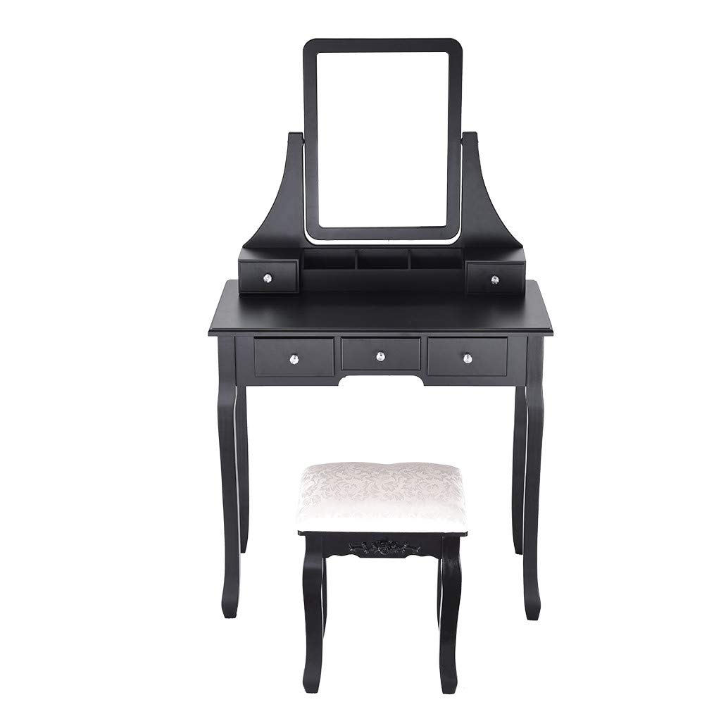 Sonmer Vanity Set with Mirror, Cushioned Stool, Storage Shelves, Drawers Dividers ,3 Style Optional, Shipped from US - Two Day Shipping (#1, Black) by Sonmer (Image #2)