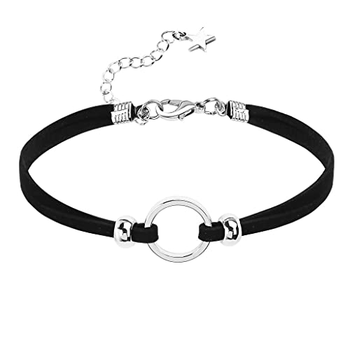 KnSam Gargntilla Acero Inoxidable Mujer, Choker Necklace Collar Bead Redondo Estrella Cable Plata Negro Collar Ajustado
