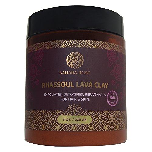 Sahara Rose 100% Organic Rhassoul Lava Clay Powder for Hair and Facial Mask, 8 oz.