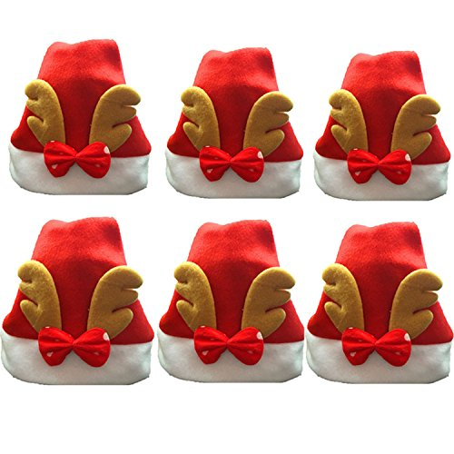 Reindeer Santa Claus Hats Christmas Halloween Costume for Kids 2-8 Year Old 6 Pack (Halloween Costumes For 3 Year Olds)