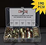 1/4'' 5/16'' 3/8'' 7/16'' 1/2'' Grade 8 SAE Extra Thick Flat Washer Assortment Kit - 190 Pieces!