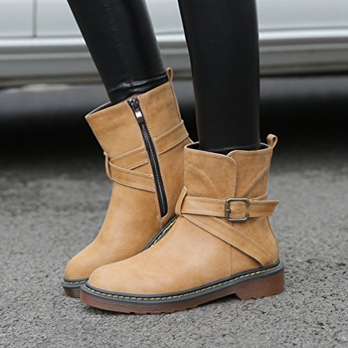 Anguang Women's Mid Wide Calf Buckle Strap Outdoor Casual Ruffle Suede Boots Tan Br4thP