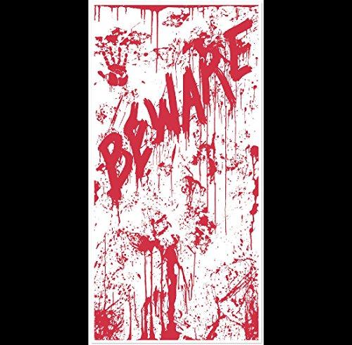 Psycho Dexter Zombie--BEWARE BLOODY DOOR COVER--Halloween Horror Prop Decoration -