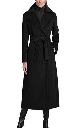 0fe45ab047b21 Amazon.com  GESELLIE Women s Black Single Breasted Lapel Full-Length Wool  Blend Pea Coat with Belt  Clothing