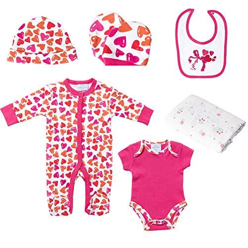 Baby Girls' Clothes 6-Piece Baby Layette Set Short-Sleeve&Long Sleeve Cotton Romper Jumpsuit Muslin Blanket Peach Heart(0-3)