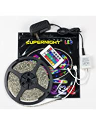 SUPERNIGHT (TM) 5M/16.4 Ft SMD 3528 RGB 300 LED Color Changing Kit with Flexible Strip Light+24 Key IR Remote...