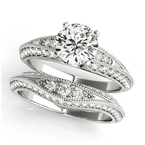 14K White Gold Unique Wedding Diamond Bridal Set Style MT50644