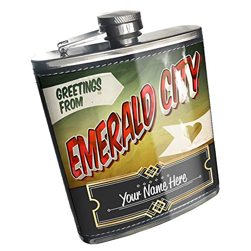 (Neonblond Flask Greetings from Emerald City, Vintage Postcard Custom Name Stainless Steel)