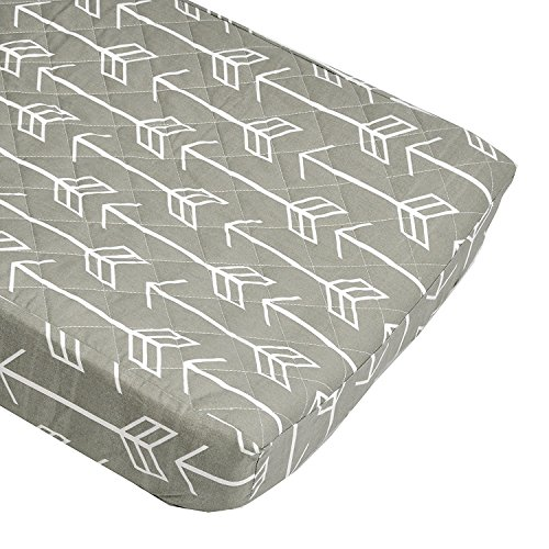 (Arrow Quilted Changing Pad Cover (White Arrow on Gray) - Fits Standard Contoured Changing Pads )