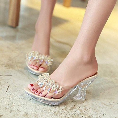 Golden Transparente Diamante Artificiales Grueso Para Scloths Tacón Chanclas Alto Verano Artificial Con Mujeres Perlas Impermeable YwfqxWC6qa