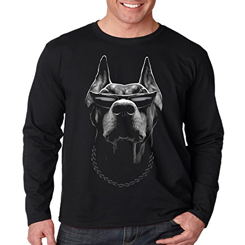 Cool Biker Long Sleeve Shirt Doberman Big Dog Sunglasses Mens S-3XL (Black, - Bad Sunglasses Ass