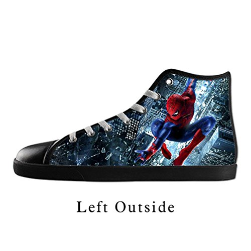 d999b3394749 delicate DONGMEN Women s Fashionable Spiderman Lace-up High-top Pop Canvas  Shoes Black Sneakers