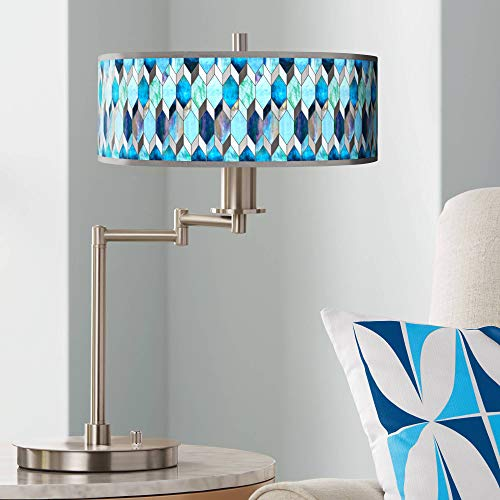 Blue Tiffany-Style Giclee CFL Swing Arm Desk Lamp - Giclee Gallery