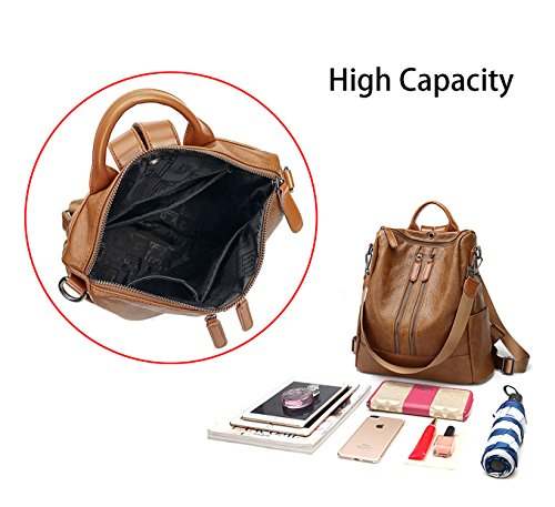 Handbags Lightweight Designer Pu Convertible Backpack Brown Womens Style02 Leather Shoulder Rucksack 5IqwS4xd