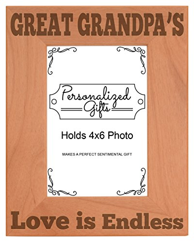 - ThisWear Father's Day Gift Great Grandpa's Love Natural Wood Engraved 4x6 Portrait Picture Frame Wood