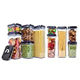 [10-Piece Set] Royal Air-Tight Food Storage Container Set - Durable Plastic - BPA Free - Clear Plastic with Black Lids