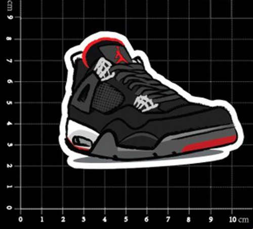Air Jordan Iv 4 Bred Red Black Stickers Chicago Bulls