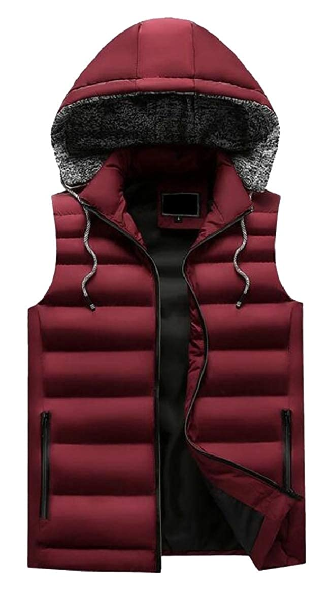 Wine Wine Wine Red RG-CA Mens Quilted Vest Outerwear Lightweight Warm Padded Hoodie Jacket a4d339