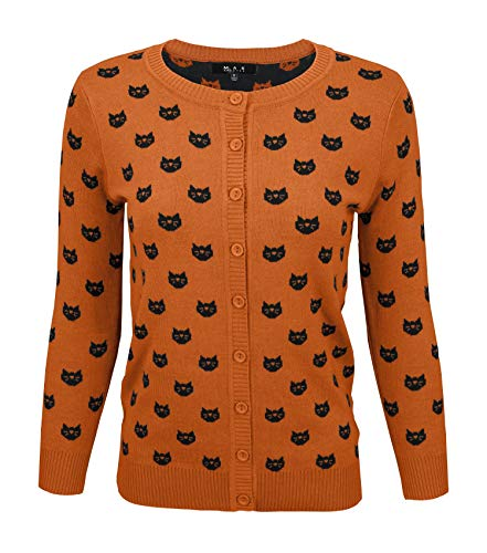Women's Cute Cat Patterned 3/4 Sleeve Button Down Cardigan Sweater MK3466-DOR/BLK-M