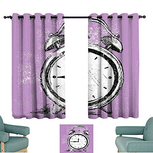 Mannwarehouse Doodle Bedroom Balcony Living Room Curtain Retro Alarm Clock Figure with Grunge Effects Classic Vintage Sleep Graphic 70%-80% Light Shading, 2 Panels,72