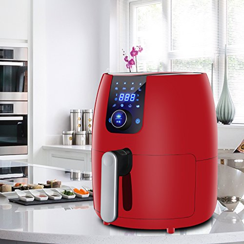 3.7 Qt. 8-in-1 Touch Screen Air Fryer with Auto Shut off & Timer, Dishwasher Safe Parts, Recipe Book And 8 Cooking Presets for Healthy Oil Free Cooking (Red)