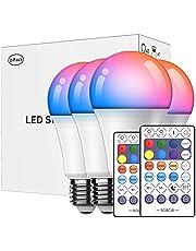 POTIKA 4-Pack de Lâmpada Inteligente com 2 Remoto, Trabalho com Alexa, Google Home, Lâmpada LED Corlorful 10W Dimmable, Music Sync RGB Color Change Smart Bulbs, 190V-240V