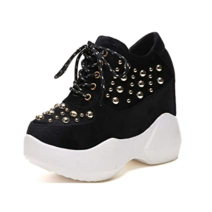 8f75c3745f7cf Amazon.com: DOSOMI Women's Wedge Sneakers 12cm Height Increasing ...