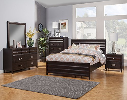 Alpine Furniture Panel Bed in Black Cherry Finish (Eastern King - 85 in. L x 79 in. W x 48 in. H)