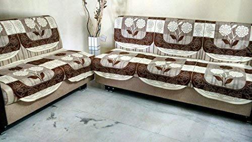 STITCHNEST 10 Piece Net Cotton 10 Seater Sofa Cover Set - Brown