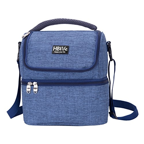 HBlife 7L oxford insulated cooler lunch bag tote handbag Baby Diaper Bag food container with shoulder strap, Double Deck Cooler (blue) - Insulated Food Compartment