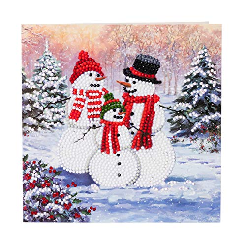 Craft Buddy SNOWMAN FAMILY Crystal Art DIY Christmas Card or picture kit, like 5 D Diamond Painting for children and adults age 8-80