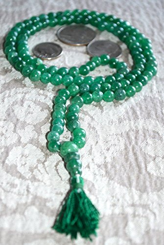 GREEN JADE 6 MM 108+1 PRAYER BEADS ROSARY JAAP JAPA MALA KARMA NECKLACE. BLESSED & ENERGIZED HINDU TIBETAN BUDDHIST SUBHA ROSARY FOR NIRVANA, BHAKTI, FOR REMOVING INNER DOSHAS, FOR CHANTING AUM OM, FOR AWAKENING CHAKRA, KUNDALINI THROUGH YOGA MEDITATION-FREE MALA POUCH INCLUDED - USA SELLER