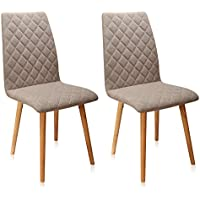Krei Hejmo Fabric Dining Chair with Wood Legs BRILANTO - Set of Two (2) (Khaki)