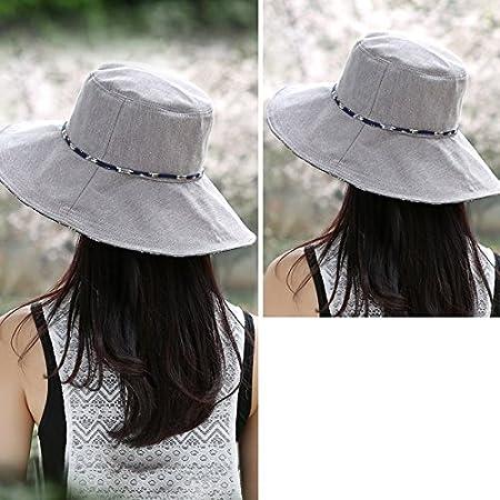 WENJUN Sombrero Mujer Verano Temporada Vacaciones Sombrero Protector De Playa  Sombreros Grandes Sombrero Grande Sombrero Al Aire Libre Algodón Sombrero  Anti ... a49798e43bd